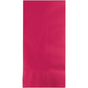 Hot Magenta Dinner Napkins 2Ply 1/8Fld 600 Ct