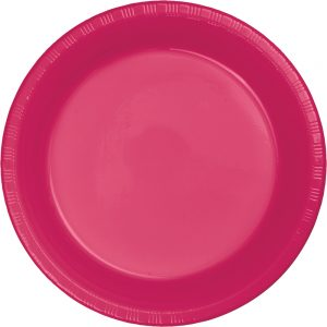 "Hot Magenta Plastic Dinner Plates 10.25"" 240 Ct"