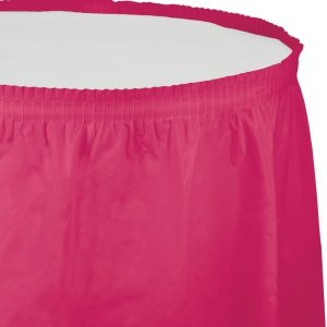 "Hot Magenta Plastic Tableskirts, 14' X 29"" 6 Ct"