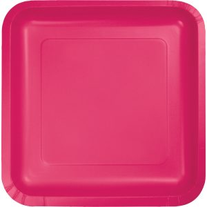 "Hot Magenta Paper Lunch Plates 9"" Square 180 Ct"