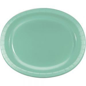 "Fresh Mint Paper Oval Platter 10"" X 12"" 96 Ct"