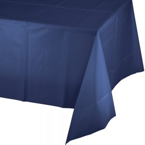 "Navy Plastic Rectangular Tablecover 54"" X 108"" 24 Ct"