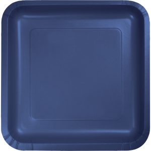 "Navy Paper Lunch Plates 9"" Square 180 Ct"