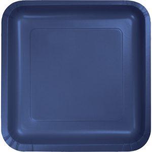 "Navy Paper Dessert Plates 7"" Square 180 Ct"