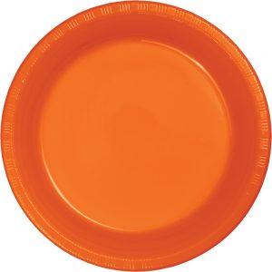 """Sunkissed Orange Plastic Dessert Plates 7"""" 240 Ct"""