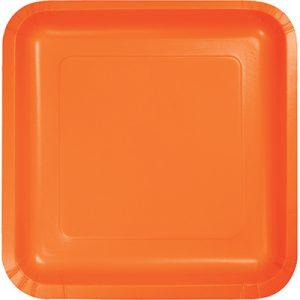 """Sunkissed Orange Paper Dessert Plates 7"""" Square 180 Ct"""