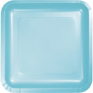 "Pastel Blue Paper Lunch Plates 9"" Square 180 Ct"