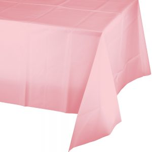 """Classic Pink Plastic Rectangular Tablecover 54"""" X 108"""" 12 Ct"""