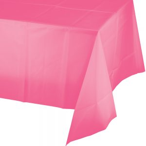 """Candy Pink Plastic Rectangular Tablecover 54"""" X 108"""" 12 Ct"""