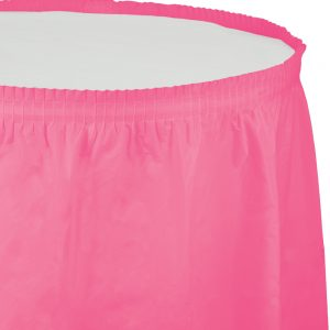 """Candy Pink Plastic Tableskirts, 14' X 29"""" 6 Ct"""