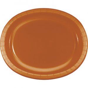 "Pumpkin Spice Paper Oval Platter 10"" X 12"" 96 Ct"