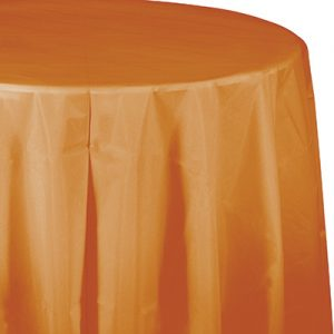 "Pumpkin Spice Plastic Tablecovers, Octy Round 82"" 12 Ct"