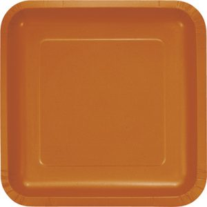 "Pumpkin Spice Paper Dessert Plates 7"" Square 180 Ct"