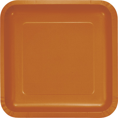 """Pumpkin Spice Paper Lunch Plates 9"""" Square 180 Ct"""