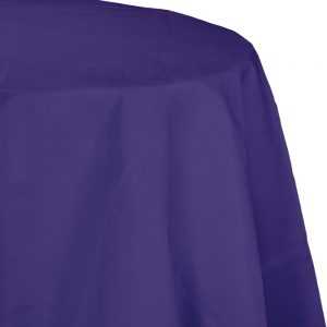 "Purple Plastic Tablecovers, Octy Round 82"" 12 Ct"