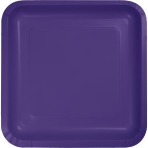 "Purple Paper Dessert Plates 7"" Square 180 Ct"