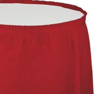 "Classic Red Plastic Tableskirts, 14' X 29"" 6 Ct"