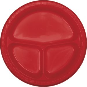 "Classic Red Plastic Divided Plates 10.25"" 200 Ct"
