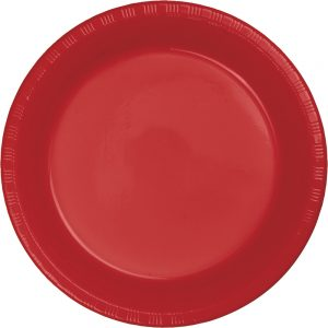 "Classic Red Plastic Dinner Plates 10.25"" 240 Ct"