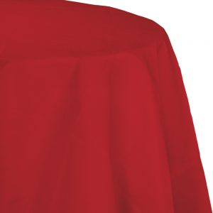 "Classic Red Plastic Tablecovers, Octy Round 82"" 12 Ct"