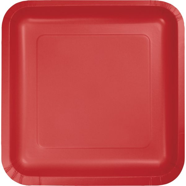 "Classic Red Paper Lunch Plates 9"" Square 180 Ct"