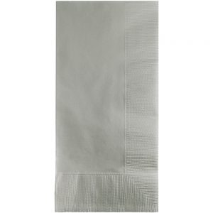 Shimmering Silver Dinner Napkins 2Ply 1/8Fld 600 Ct