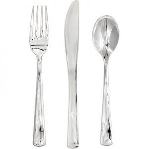 Metallic Silver Assorted Cutlery 288 Ct