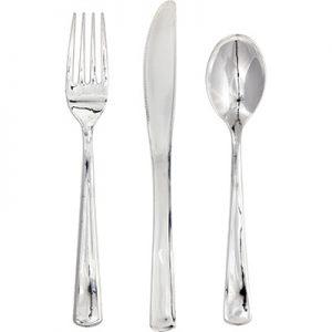 Metallic Silver Assorted Cutlery 288 Ct