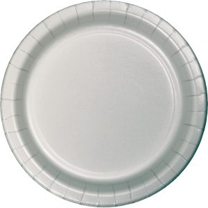 "Shimmering Silver Paper Dinner Plates 10"" 240 Ct"