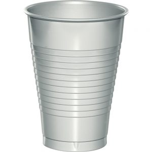 Shimmering Silver Plastic Cups 12 Oz. 240 Ct