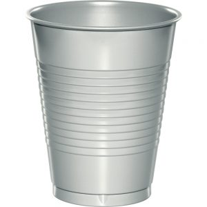 Shimmering Silver Plastic Cups 16 Oz. 240 Ct