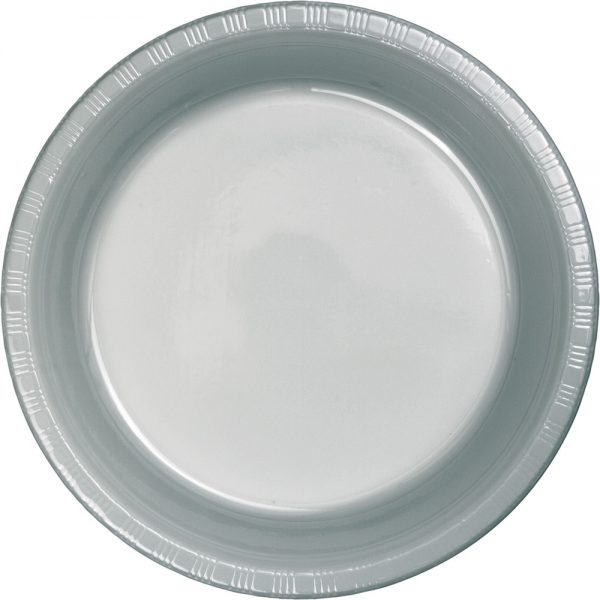"Shimmering Silver Plastic Dinner Plates 10.25"" 240 Ct"