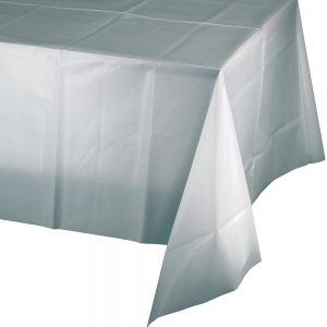 """Shimmering Silver Plastic Rectangular Tablecover 54"""" X 108"""" 12 Ct"""