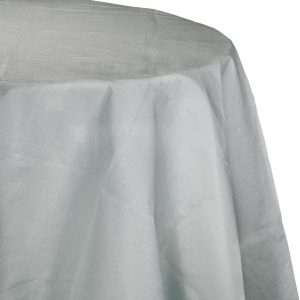"""Shimmering Silver Plastic Tablecovers, Octy Round 82"""" 12 Ct"""
