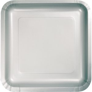 "Shimmering Silver Paper Dessert Plates 7"" Square 180 Ct"