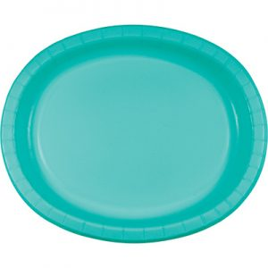 "Teal Lagoon Paper Oval Platter 10"" X 12"" 96 Ct"