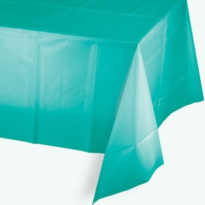 "Teal Lagoon Plastic Rectangular Tablecover 54"" X 108"" 12 Ct"