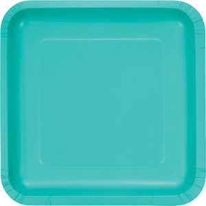 "Teal Lagoon Paper Dessert Plates 7"" Square 180 Ct"
