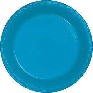 "Turquoise Plastic Lunch Plates 9"" 240 Ct"