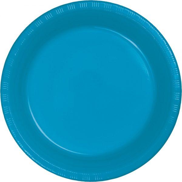 "Turquoise Plastic Dinner Plates 10.25"" 240 Ct"