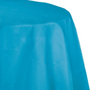 """Turquoise Plastic Tablecovers, Octy Round 82"""" 12 Ct"""