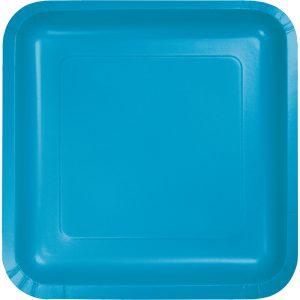 """Turquoise Paper Dessert Plates 7"""" Square 180 Ct"""
