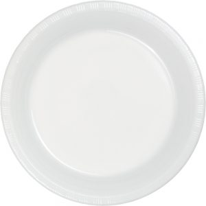 "White Plastic Lunch Plates 9"" 240 Ct"