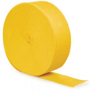 School Bus Yellow Crepe Streamers 500' 12 Ct