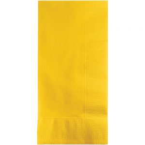 School Bus Yellow Dinner Napkins 2Ply 1/8Fld 600 Ct