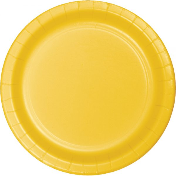 """School Bus Yellow Paper Lunch Plates 9"""" 900 Ct"""