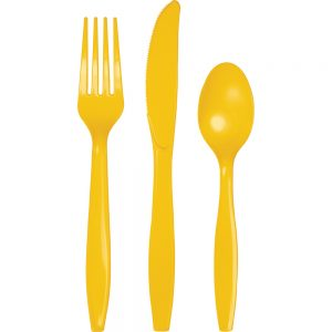 School Bus Yellow Premium Cutlery Asst 288 Ct