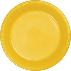 "School Bus Yellow Plastic Lunch Plates 9"" 240 Ct"