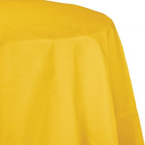"""School Bus Yellow Plastic Tablecovers, Octy Round 82"""" 12 Ct"""