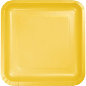"School Bus Yellow Paper Lunch Plates 9"" Square 180 Ct"